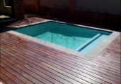 Pool with wooden deck